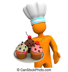 Baker Cupcakes - Orange cartoon character as baker with...