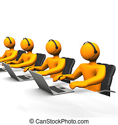 Support Callcenter - Orange cartoon character works in a...