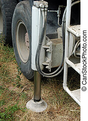 Stabilizer of a plunger pump truck - A huge machine with...