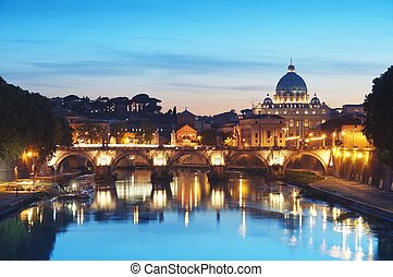 River Tiber in Rome - Italy - Night image of St. Peter's...