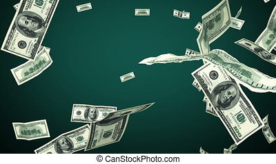 100 Dollar bills flying up looped - 100 Dollar bills flying...