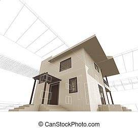 House construction. High quality 3d render