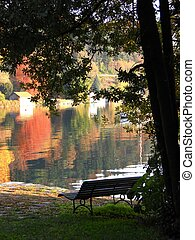 Autumn on the lake - Beautiful autumn landscape with lonely...