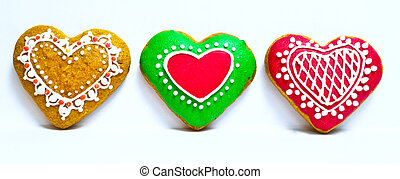 Heart shape ginger breads decorated