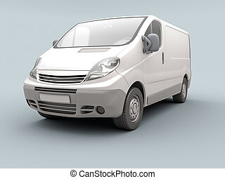 White commercial van on a gray background with shadow