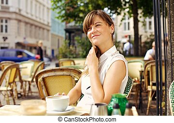 Woman Enjoying the Pleasant Morning with a Cup of Coffee -...