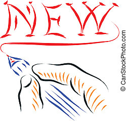 new hand writing - hand writing new word in brush drawing...