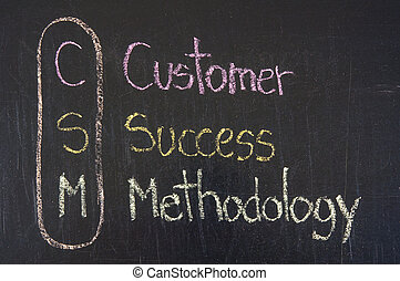CSM acronym Customer Success Methodology,color chalk...