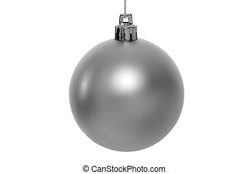Christmas silver bauble - Christmas bauble isolated on white...