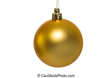 Christmas golden bauble - Christmas bauble isolated on white...