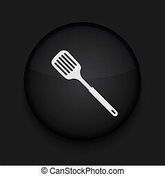 Vector slotted kitchen spoon icon. Eps10. Easy to edit