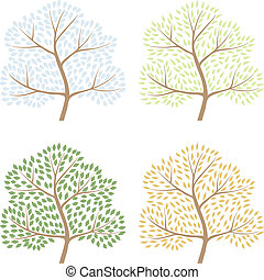 Four season trees, vector illustration of abctract trees