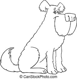 shaggy dog cartoon for coloring book - Cartoon Illustration...