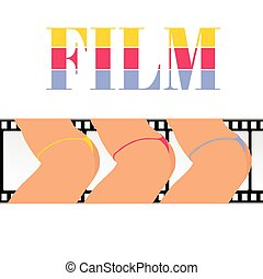woman ass with film track vector illustration