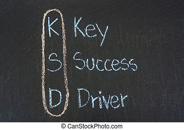 KSD acronym Key Success Driver,color chalk handwriting on...