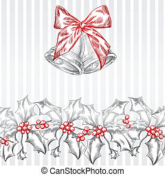 Vintage Christmas and Holidays seamless hand drawn pattern.