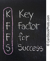 KFFS acronym Key Factor For Success,color chalk handwriting...