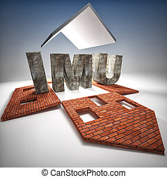 imu tax - 3d image of heavy stone imu tax on broken house
