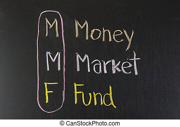 MMF acronym Money Market Fund,color chalk handwriting on...