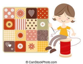 Craft Girl with Patchwork Quilt - Fun illustration of...