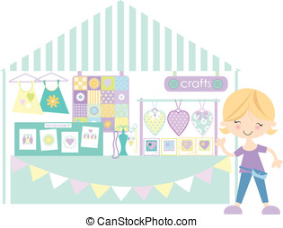 Crafts- Market /Craft fair with sta - Cute girl standing in...