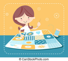 Girl sewing patchwork quilt - Crafts series- Girl with...