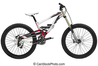Mountain bike - Close up mountain bicycle isolated on white...