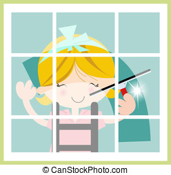 Female Window Cleaner - Cute illustration of girl cleaning...