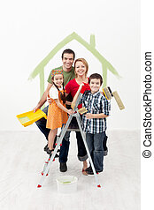 Family with kids painting their new home