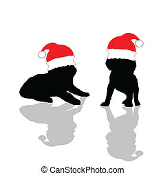 little cute dog with red Christmas hat illustration
