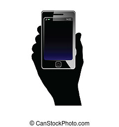 mobile phone in hand vector - mobile phone in hand art...