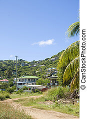 landscape typical houses Clifton Union Island St. Vincent and the Grenadines in Caribbean