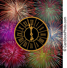 Happy New Year fireworks eve night time with clock. EPS10...