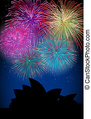 Happy New Year fireworks Australia landmark - Happy New Year...