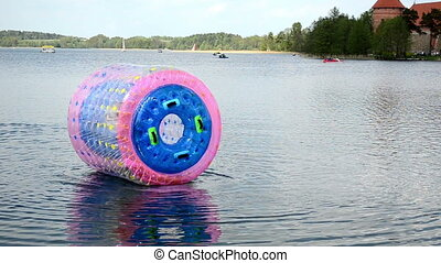 child zorb Trakai - Child in zorb water ball Galve lake near...