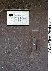 building steel door with intercom - Close-up of building...