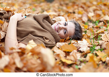 beauty woman in september - Portrait of beauty woman in...