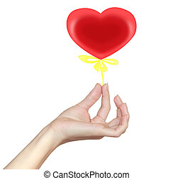Woman hand holding heart with yellow ribbon Red bright love...