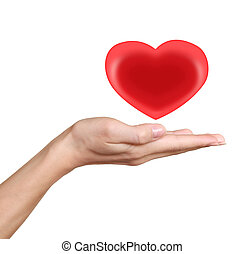 Red heart in woman hand. Love and heath symbol isolated on...