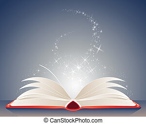 magic book - an illustration of a bright red magic book of...