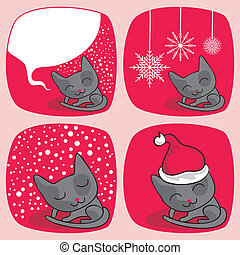 Cute Christmas Cats Set
