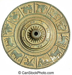 round dial with astrologi - I found this at Columbus Park in...