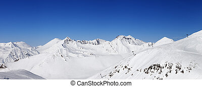 Panorama of snow winter mountains. Caucasus Mountains,...