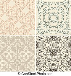 Vector Set of 4 Vintage Seamless Patterns - vector vintage...