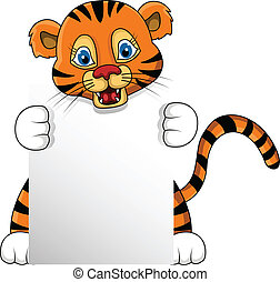 young tiger with blank sign