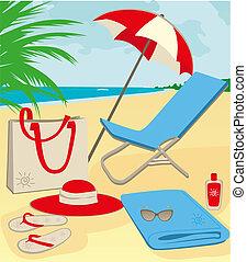 beach stuff - Illustration of beach stuff on sand.