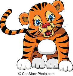 cute young tiger cartoon expression - vector illustration of...