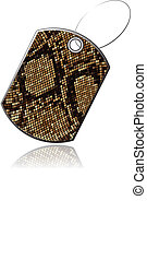Tag of snake skin - Tag leather snake with reflection,...
