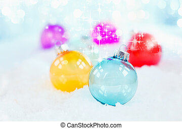 Delicate blue glass Christmas bauble