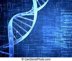 Blue DNA Helix with texture - Blue background DNA Helix with...
